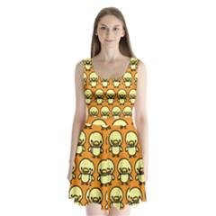 Small Duck Yellow Split Back Mini Dress