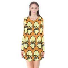 Small Duck Yellow Flare Dress