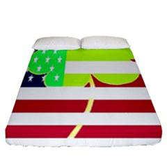 Usa Ireland American Flag Shamrock Irish Funny St Patrick Country Flag  Fitted Sheet (queen Size)