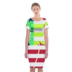 Usa Ireland American Flag Shamrock Irish Funny St Patrick Country Flag  Classic Short Sleeve Midi Dress