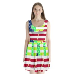 Usa Ireland American Flag Shamrock Irish Funny St Patrick Country Flag  Split Back Mini Dress