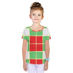 Christmas Fabric Textile Red Green Kids  One Piece Tee