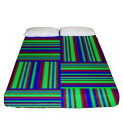 Fabric Pattern Design Cloth Stripe Fitted Sheet (king Size)