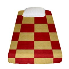 Fabric Geometric Red Gold Block Fitted Sheet (single Size)