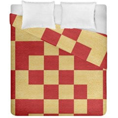 Fabric Geometric Red Gold Block Duvet Cover Double Side (california King Size)