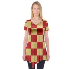 Fabric Geometric Red Gold Block Short Sleeve Tunic