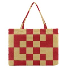 Fabric Geometric Red Gold Block Medium Zipper Tote Bag
