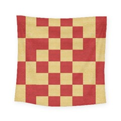 Fabric Geometric Red Gold Block Square Tapestry (small)
