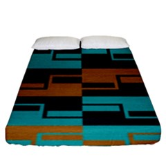 Fabric Textile Texture Gold Aqua Fitted Sheet (king Size)