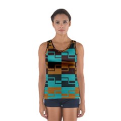 Fabric Textile Texture Gold Aqua Women s Sport Tank Top