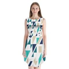 Geometric Sleeveless Chiffon Dress