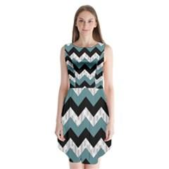 Green Black Pattern Chevron Sleeveless Chiffon Dress