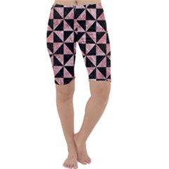 Triangle1 Black Marble & Red & White Marble Cropped Leggings