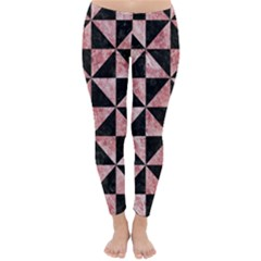 Triangle1 Black Marble & Red & White Marble Classic Winter Leggings