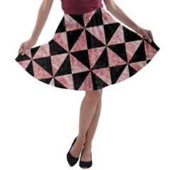 Triangle1 Black Marble & Red & White Marble A Line Skater Skirt