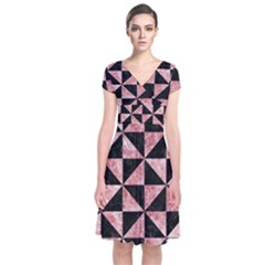 Triangle1 Black Marble & Red & White Marble Short Sleeve Front Wrap Dress