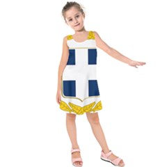 Coat Of Arms Of Greece Military Variant Kids  Sleeveless Dress