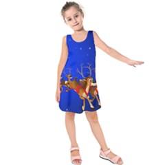 Holidays Christmas Deer Santa Claus Horns Kids  Sleeveless Dress