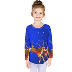Holidays Christmas Deer Santa Claus Horns Kids  Long Sleeve Tee