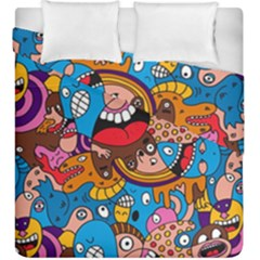 People Face Fun Cartoons Duvet Cover Double Side (king Size)