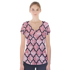 Tile1 Black Marble & Red & White Marble (r) Short Sleeve Front Detail Top