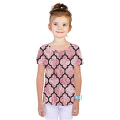 Tile1 Black Marble & Red & White Marble (r) Kids  One Piece Tee