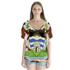 Coat Of Arms Of Antigua And Barbuda Flutter Sleeve Top