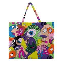 Another Weird Pattern Zipper Large Tote Bag