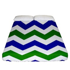 Blue And Green Chevron Fitted Sheet (king Size)