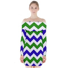 Blue And Green Chevron Long Sleeve Off Shoulder Dress