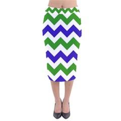 Blue And Green Chevron Velvet Midi Pencil Skirt