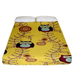 Cheery Owls Yellow Fitted Sheet (king Size)