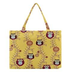 Cheery Owls Yellow Medium Tote Bag