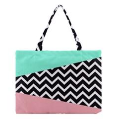 Chevron Green Black Pink Medium Tote Bag
