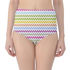 Color Full Chevron High Waist Bikini Bottoms