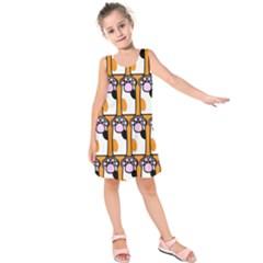 Cute Cat Hand Orange Kids  Sleeveless Dress