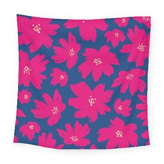 Flower Red Blue Square Tapestry (large)