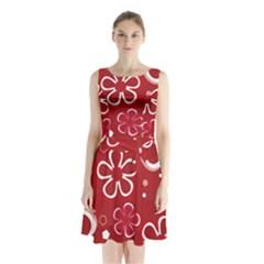Flower Red Cute Sleeveless Chiffon Waist Tie Dress
