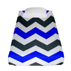 Grey And Blue Chevron Fitted Sheet (single Size)