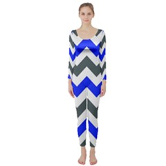 Grey And Blue Chevron Long Sleeve Catsuit