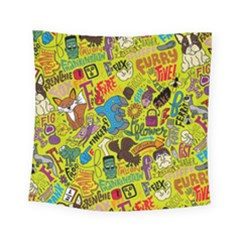 F Pattern Cartoons Square Tapestry (small)