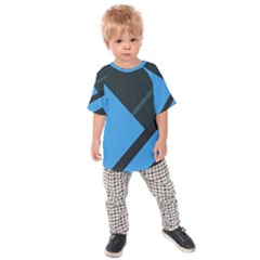 Lines Textur  Stripes Blue Kids  Raglan Tee