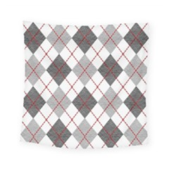 Fabric Texture Argyle Design Grey Square Tapestry (small)