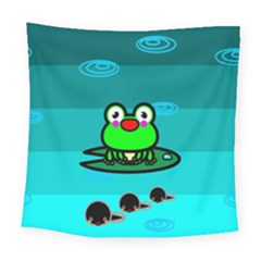 Frog Tadpole Green Square Tapestry (large)