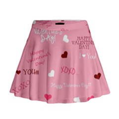 Happy Valentines Day Mini Flare Skirt