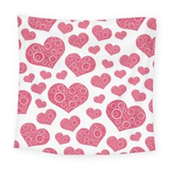 Heart Love Pink Back Square Tapestry (large)