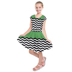 Lime Green Chevron Kids  Short Sleeve Dress