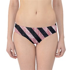 Stripes3 Black Marble & Red & White Marble (r) Hipster Bikini Bottoms