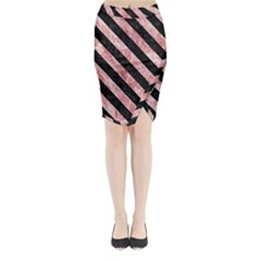 Stripes3 Black Marble & Red & White Marble (r) Midi Wrap Pencil Skirt