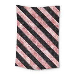 Stripes3 Black Marble & Red & White Marble (r) Small Tapestry